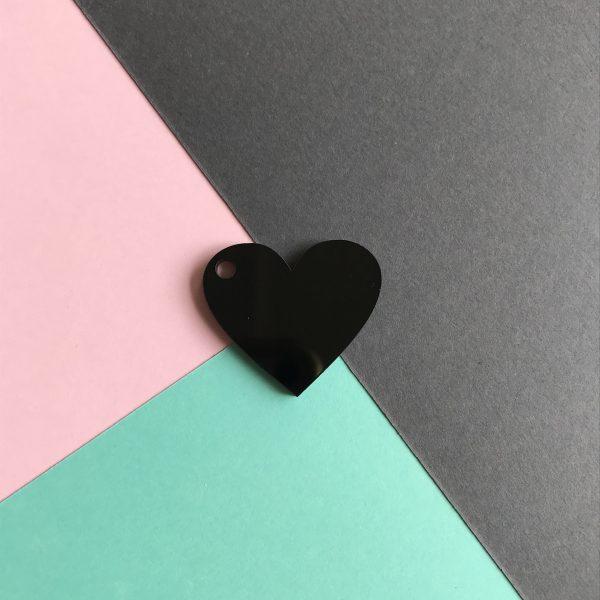 Pingente acrílico | Coração preto 2,5x3cm