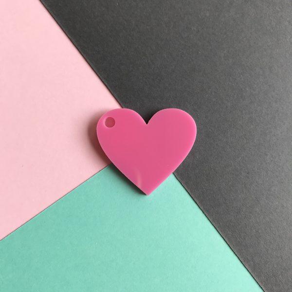 Pingente acrílico | Coração rosa 2,5x3cm