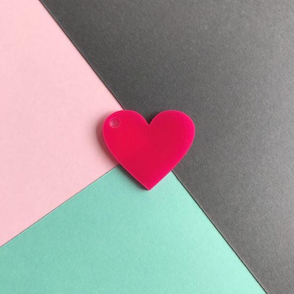 Pingente coração pink 2,5x3cm