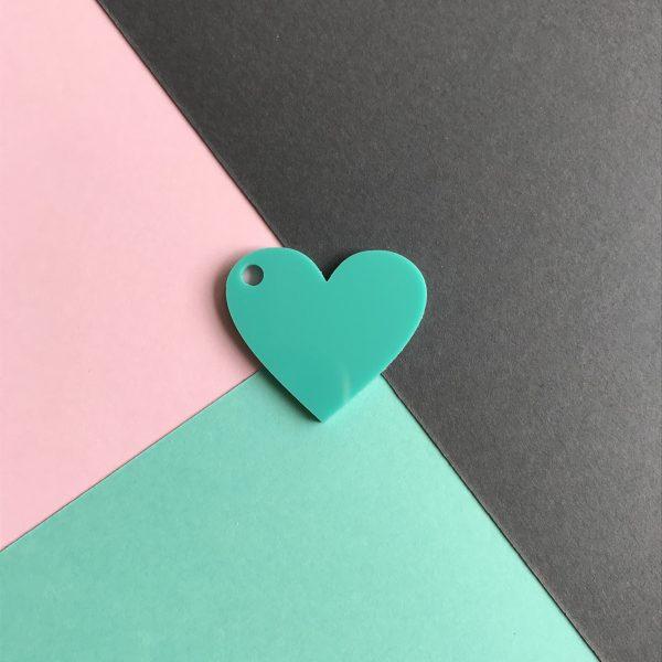 Pingente acrílico | Coração verde água 2,5x3cm